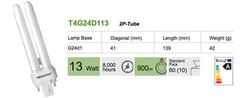 Bombilla Inyectable 2 pin G24d1 13W BC de Megaman