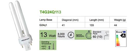 Ficha técnica bombilla Inyectable 4 pin G24q1 - 13W BC de Megaman