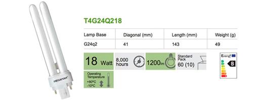 Bombilla Inyectables 4 pin G24q2 18W BC de Megaman