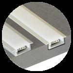 Profile für die versenkte Montage. Profil für Einbauleuchten LED-Strip