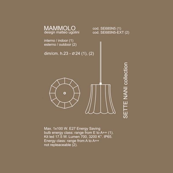 Medidas lámpara Mammolo suspensión de Karman
