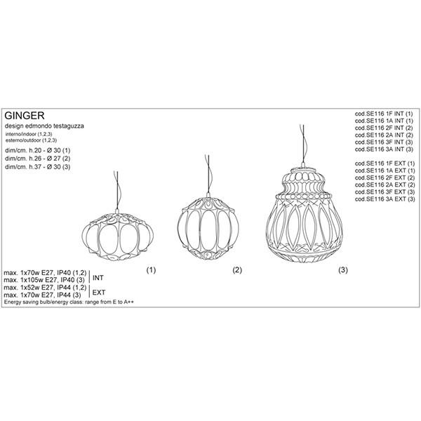 Medidas lámpara Ginger suspensión de Karman