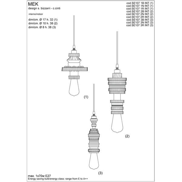 Medidas lámpara Mek suspensión de Karman