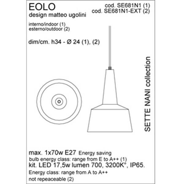 Medidas lámpara Eolo suspensión de Karman