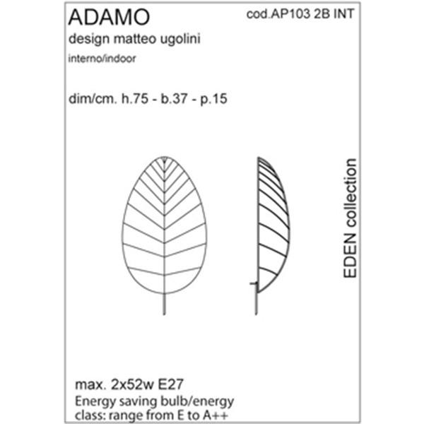 Medidas lámpara Adamo aplique de Karman