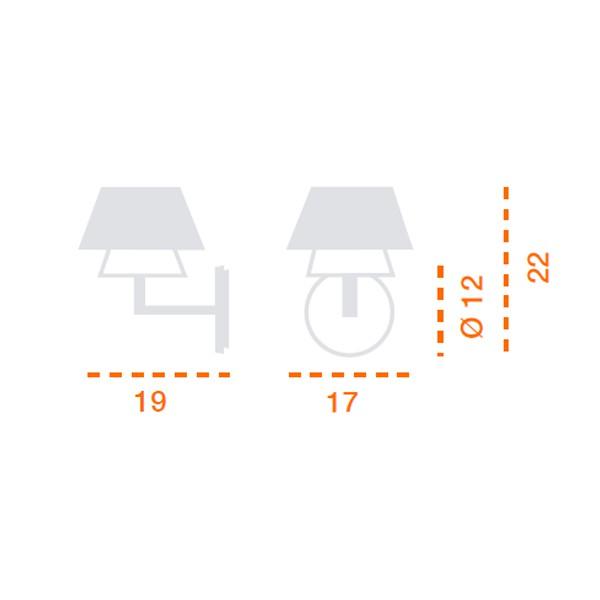 Medidas lámpara Gala aplique dos difusores de Carpyen