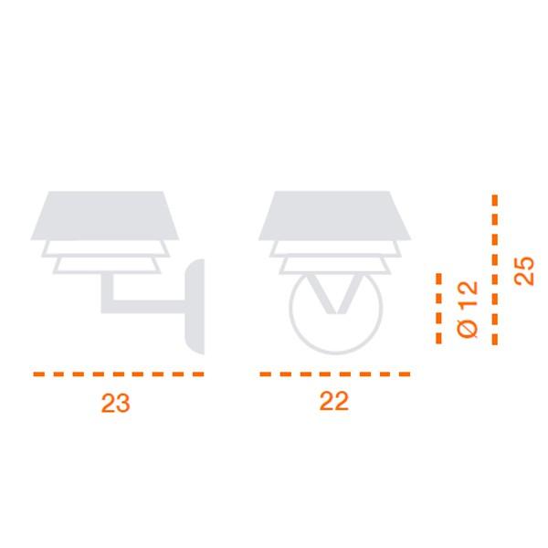 Medidas lámpara Gala aplique tres difusores de Carpyen
