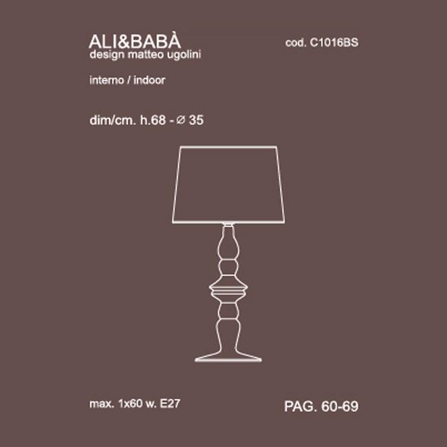 Medidas lámpara Ali e Baba sobremesa de Karman