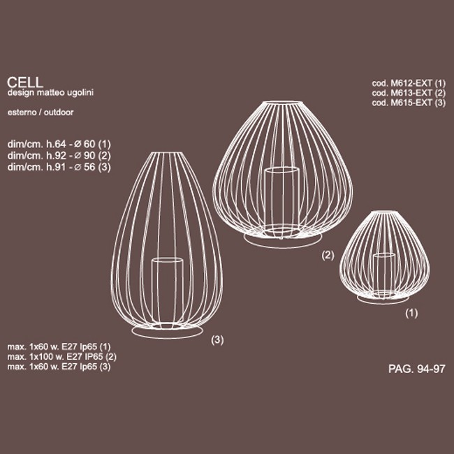 Medidas lámpara diseño Cell exteriorsobremes ade Karman