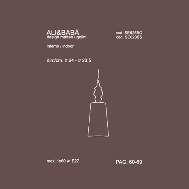 Medidas lámpara Alì E Babà suspensión de Karman