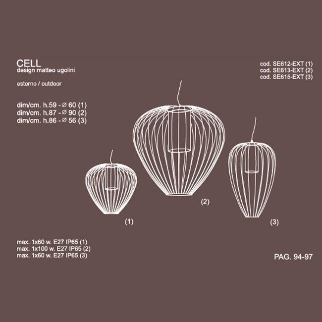 Medidas lámpra Cell exterior suspensión de Karman