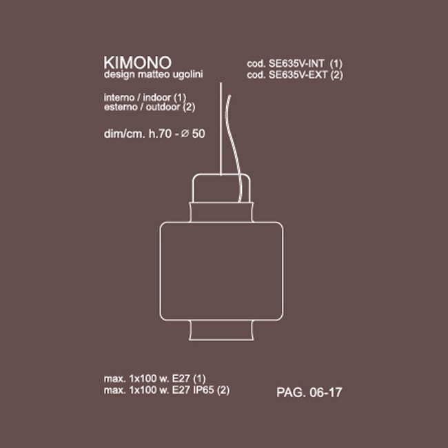 Medidas lámpara Kimono 50cm suspensión de Karman