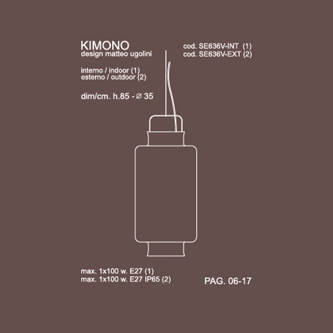 Medidas lámpara Kimono 35cm suspensión de Karman