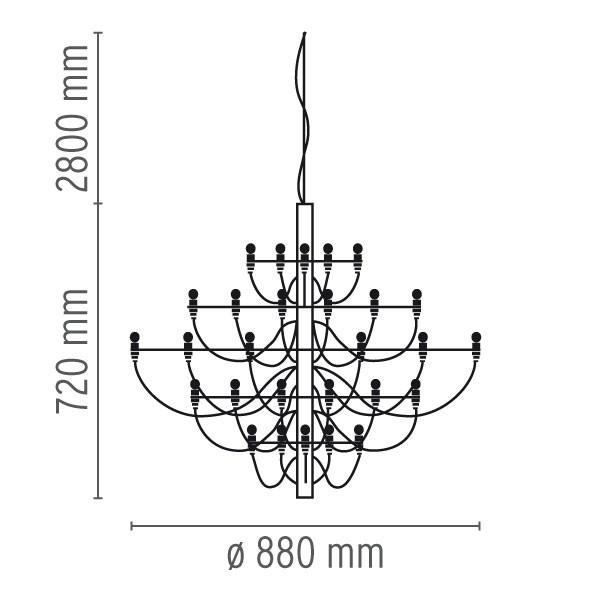 Medidas lámpara 2097/30 suspensión de Flos.