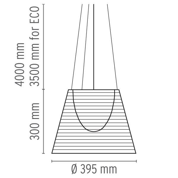 Medidas lámpara Ktribe S2 suspensión de Flos