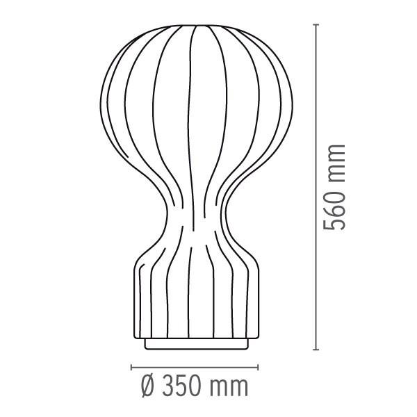 Medidas lámpara Gatto de flos
