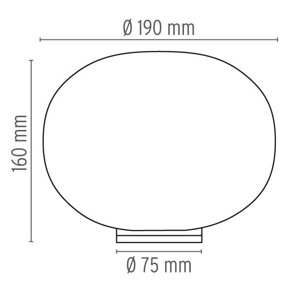 Medidas lámpara Glo-Ball Basic Zero Switch sobremesa de Flos