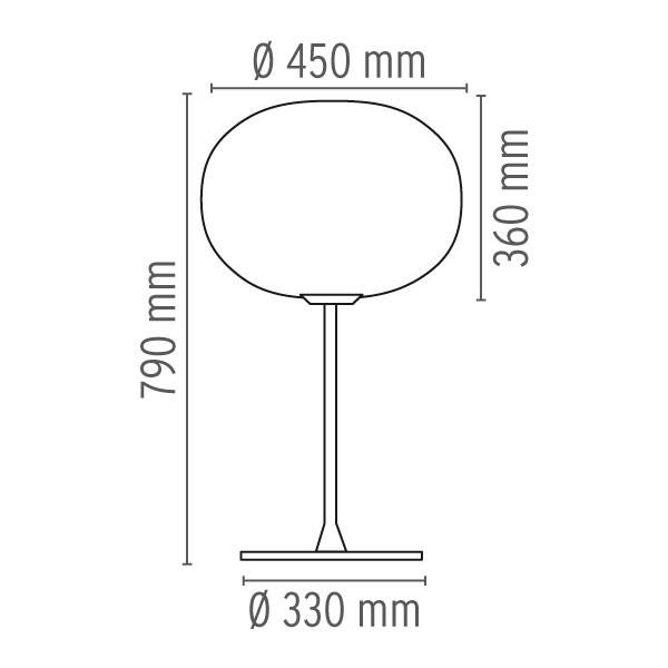 Medidas lámpara Glo-Ball T sobremesa de Flos