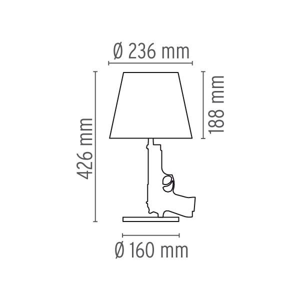 Medidas lámpara Guns-Bedside Gun sobremesa de Flos