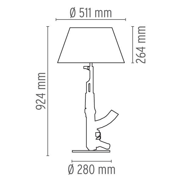 Medidas lámpara Guns Table Gun sobremesa de Flos