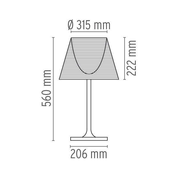 Medidas lámpara Ktribe T1 sobremesa de Flos