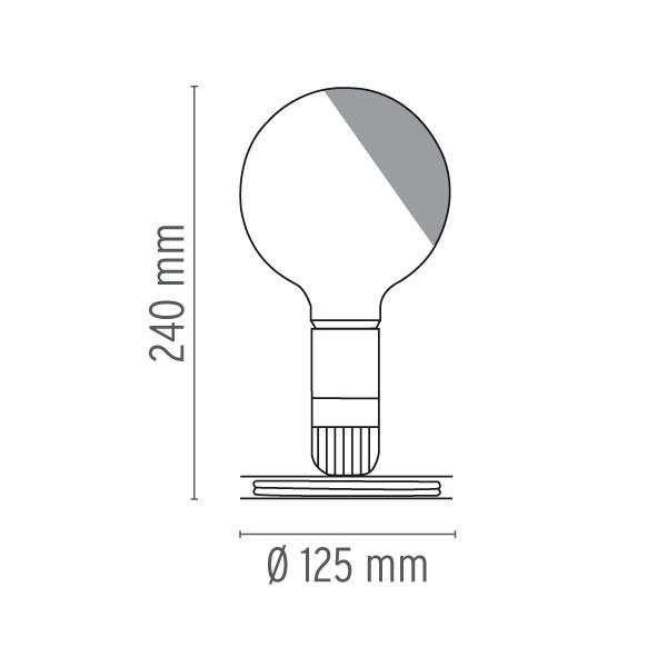Medidas lámpara lampadina sobremesa de Flos