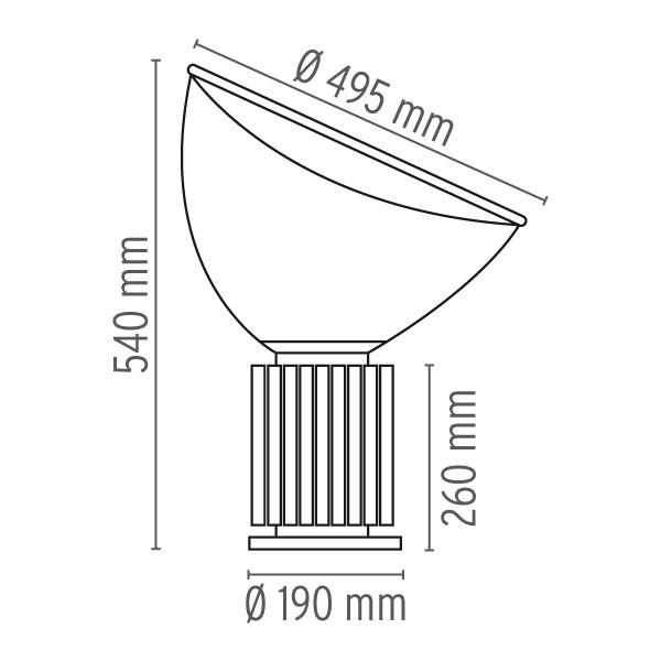 Medidas lámpara Taccia LED sobremesa de flos