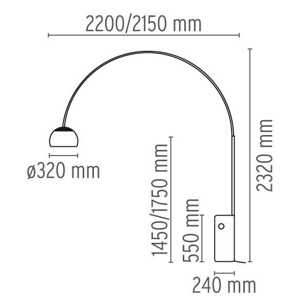 Medidas lámpara Arco pie de flos