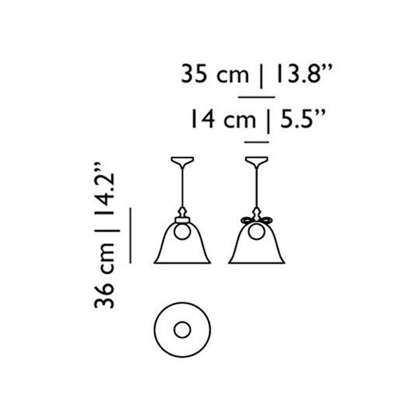 Medidas lámpara Bell lamp grande suspensión de Moooi