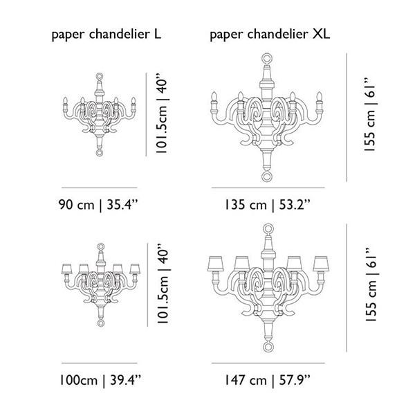 Medidas lámpara Paper Chandelier suspensión de Moooi