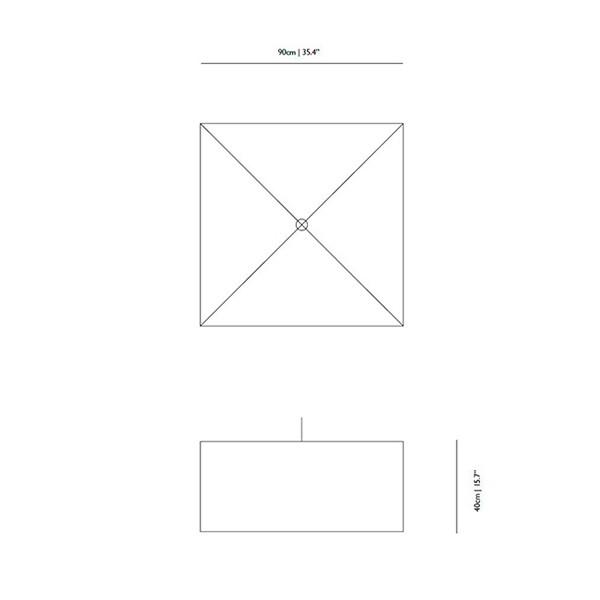 Medidas lámpara Square Boon suspensión de Moooi
