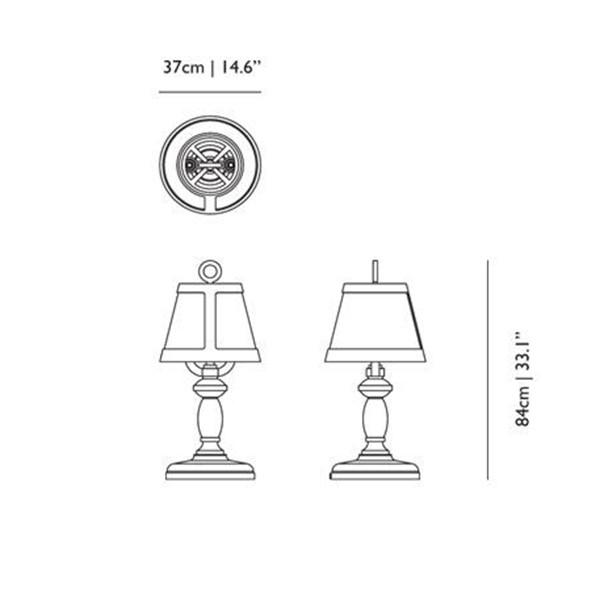 Medidas lámpara Paper Table Lamp sobrmesa de Moooi